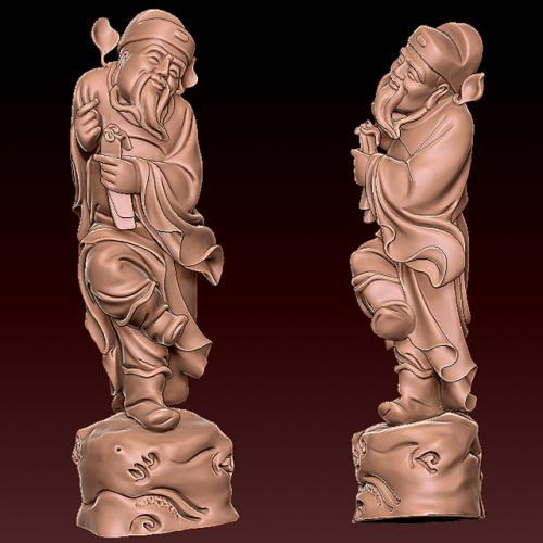 bx-001曹国舅 石雕三维立体图,stl图等,立体雕刻机,玉雕雕刻机,精雕立体图