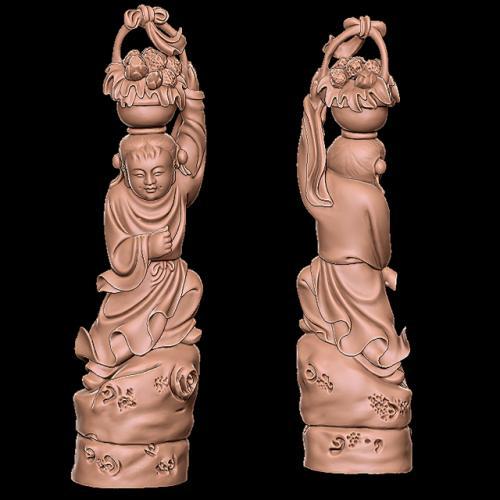 bx-005八仙蓝采和  石材雕刻机 雕刻图 石材雕刻图 木雕 玉雕 石雕