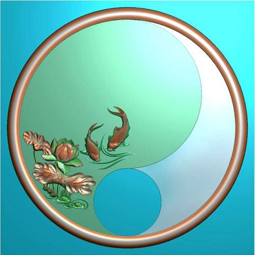 圆鱼茶盘雕刻图(HYHN-070)