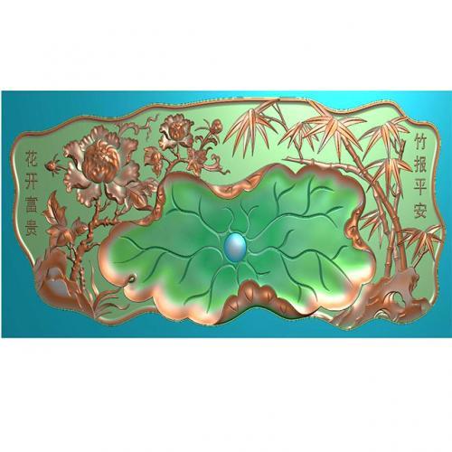 竹子牡丹大茶盘浮雕图(HYHN-071)