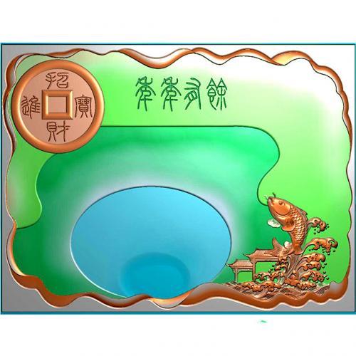 招财进宝年年有余茶盘浮雕图(HYHN-074)