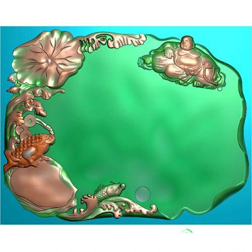 弥勒金蟾茶盘精雕图(HYHN-075)