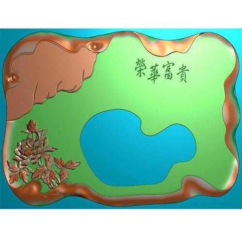 富贵荣华茶盘雕刻图(HYHN-076)