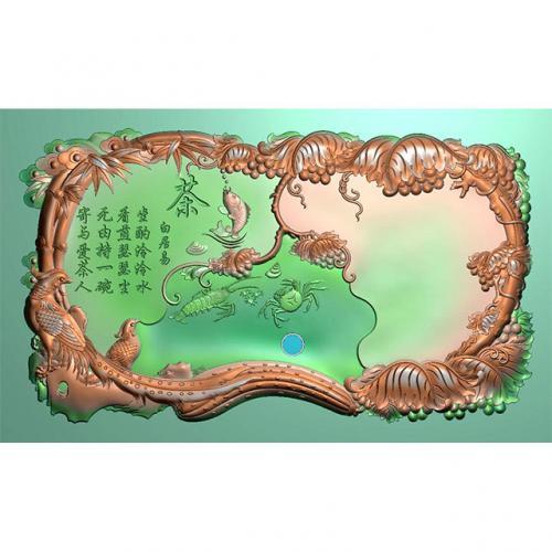 锦鸡海鲜葡萄茶盘精雕图(HYHN-162)