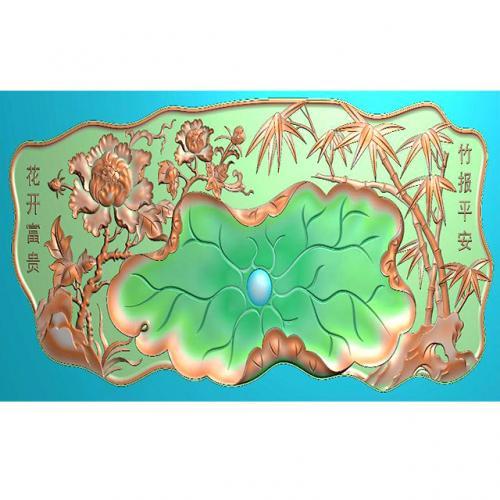 牡丹花荷叶翠竹子茶盘精雕图(HYHN-163)