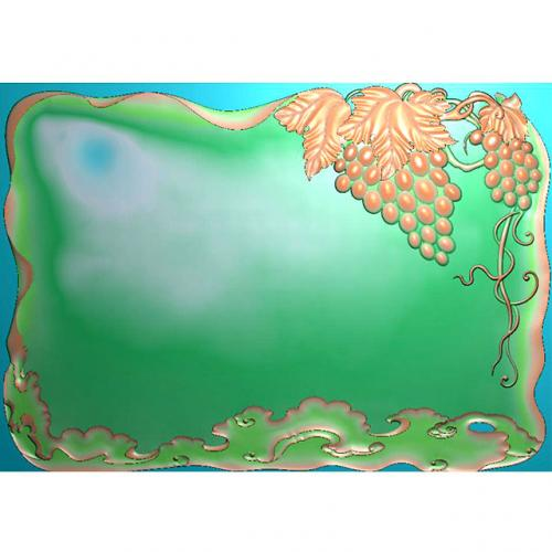 葡萄茶盘雕刻图(HYHN-169)