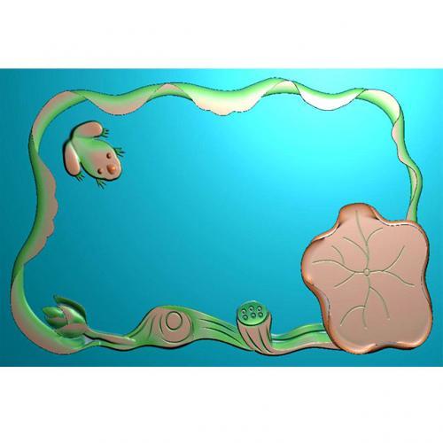 青蛙茶盘精雕图(HYHN-172)