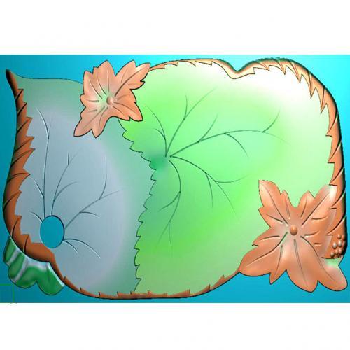 树叶茶盘精雕图(HYHN-174)