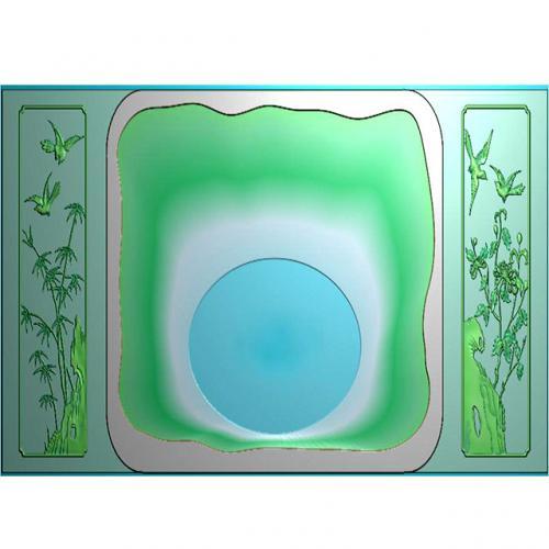 竹菊盘雕刻加工图(HYHN-178)