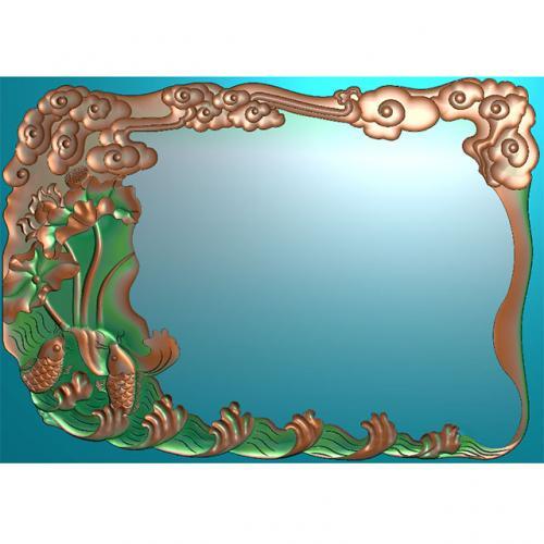 荷花茶盘浮雕图(HYHN-201)