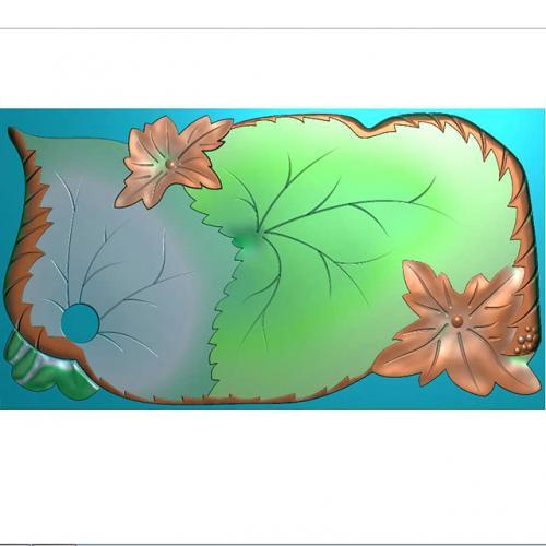 树叶茶盘雕刻图(HYHN-216)