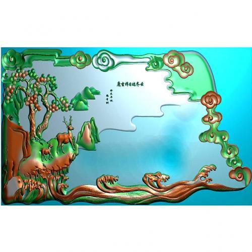 鹿松树茶盘浮雕图(DWCP-001)