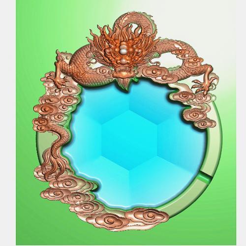单龙烟灰缸精雕图(YHG-2003)