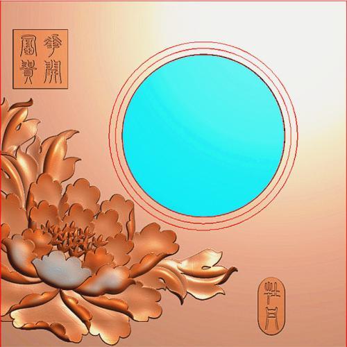 花开富贵牡丹烟灰缸精雕图(YHG-2011)