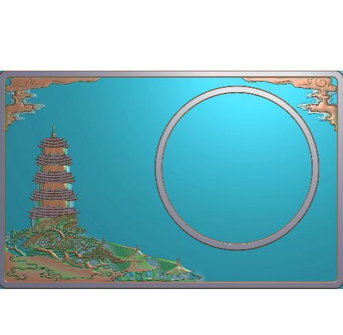 建筑砚台精雕图(YT-453)