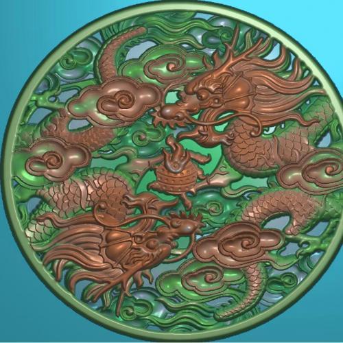 九龙砚台盖雕刻图(YT-465)
