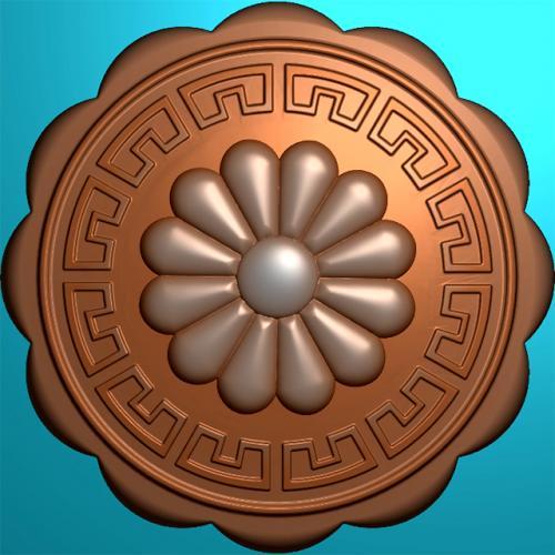 仿古花卉月饼印饼模糕点模具没线条浮雕图(MJ-0004)