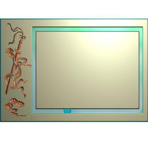 宝剑茶盘精雕雕刻图(JYCP-023)