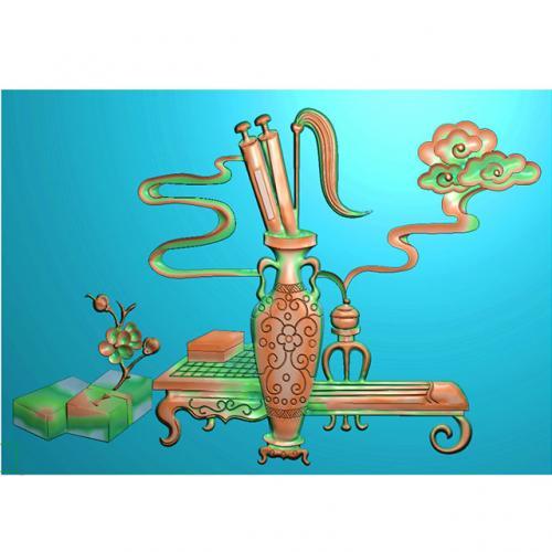 琴棋书画雕刻图(BMZY-155)