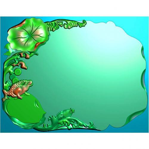 青蛙茶盘图雕刻图(HNCP-453)
