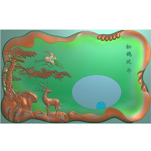 松鹤延年茶盘雕刻加工图(SHCP-005)