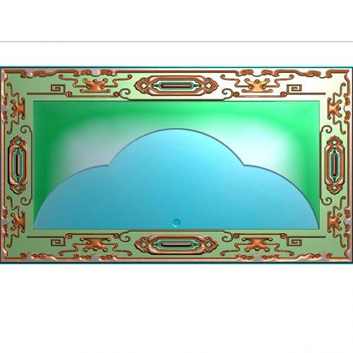 古边框茶盘浮雕图(JYCP-220)