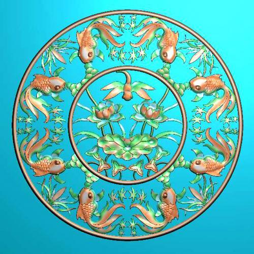 八鲤戏莲线精雕图(Y-301)