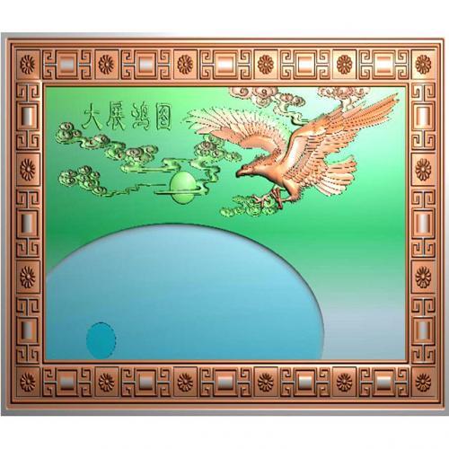 茶盘大展鸿图浮雕雕刻图(DWCP-020)