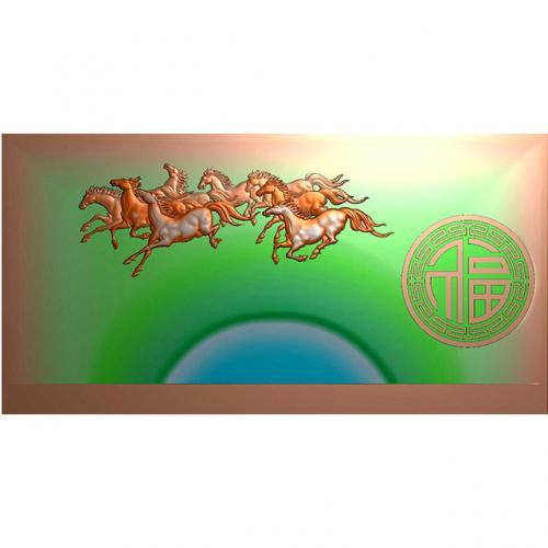 八骏茶盘精雕雕刻图(DWCP-021)