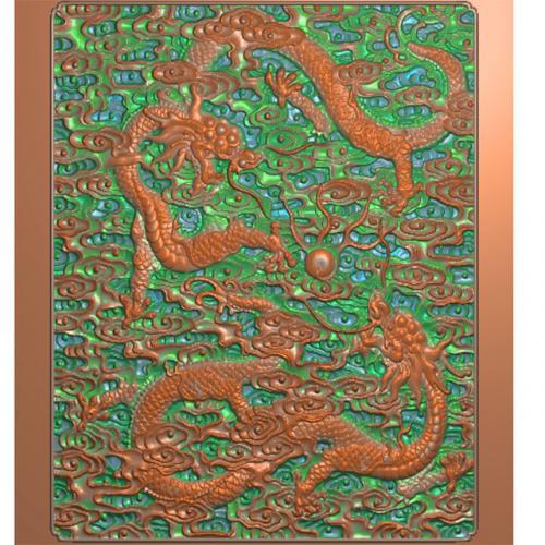 龙板柜子面板浮雕图(GZMB-302)