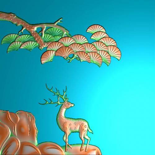 松鹿茶盘浮雕图(DWCP-201)