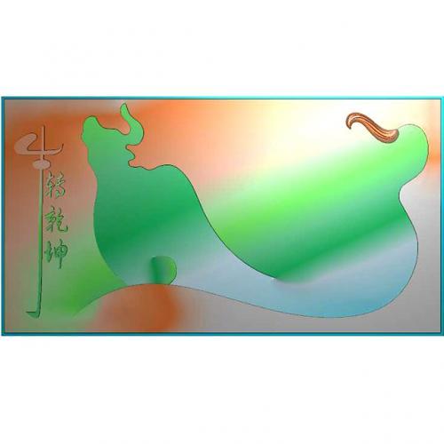 牛茶盘精雕图(DWCP-204)
