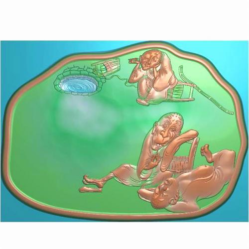 抽象人物提水茶盘浮雕图(RWCP-001)