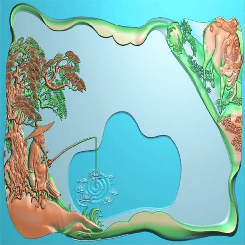 姜太公钓鱼茶盘浮雕图(RWCP-007)