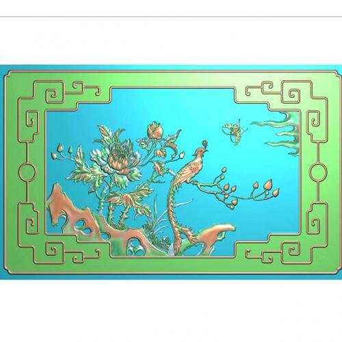 风凰牡丹浮雕图(F-001)