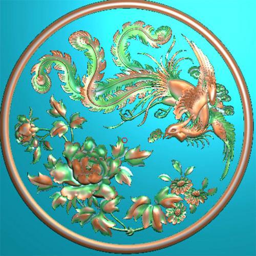 牡丹凤凰浮雕图(f-311)