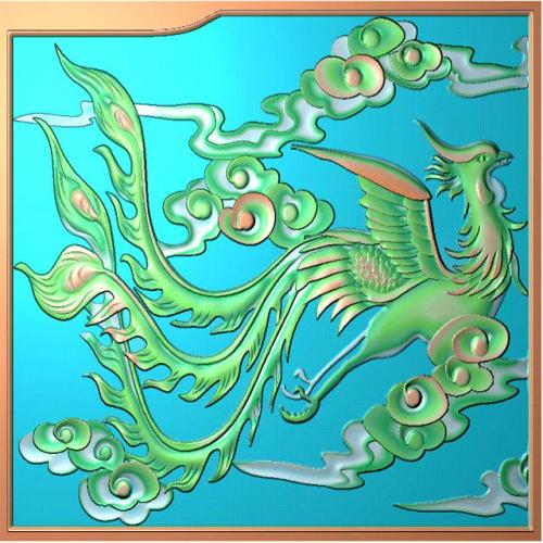 龙凤床中板浮雕图(LF-005)