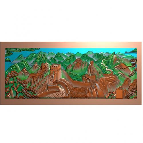 长城带边框浮雕图(CCXL-258)