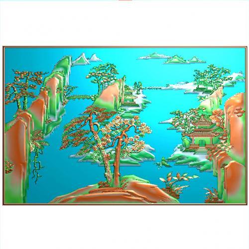 山水建筑浮雕图(SSJZ-010)