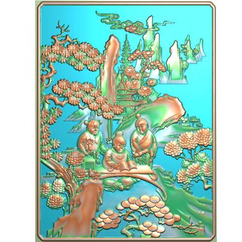 童子人物山水精雕图(SSRW155)
