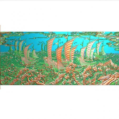 帆船出海浮雕图(YFFS-254)
