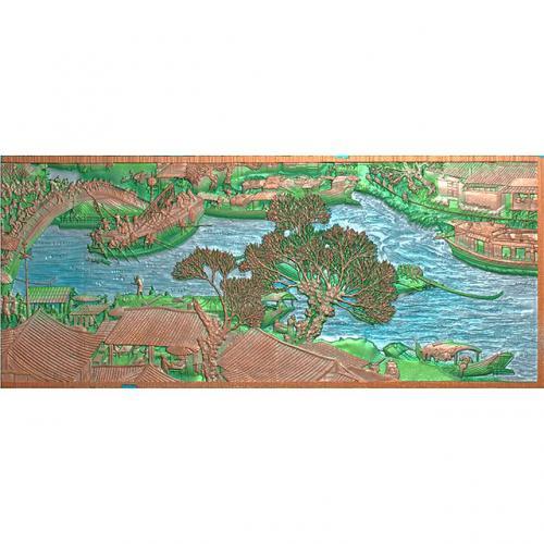 清明上河图右壁画背景墙精雕图(BH-160)
