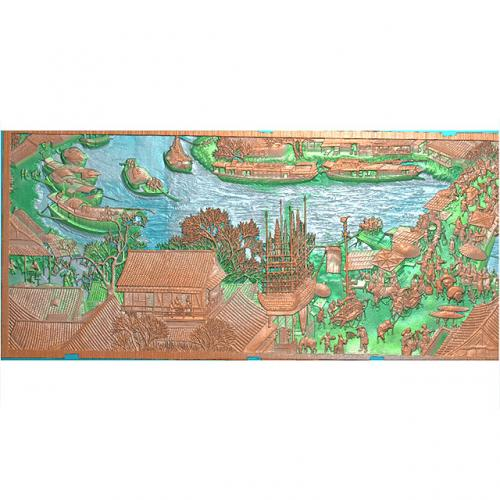 清明上河图左壁画背景墙精雕图(BH-161)