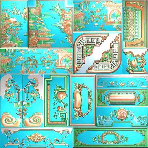 富贵祥和山水沙发浮雕图精雕图(SFTT-213)