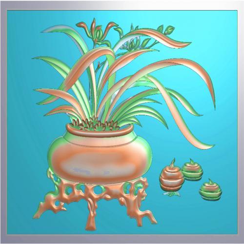 兰花浮雕图,兰花精雕图,兰花雕刻图,兰花雕刻图案(LH-190)