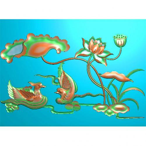 花鸟精雕图,鸳鸯荷花精雕图,鸳鸯浮雕图,荷花雕刻图(HN-452)