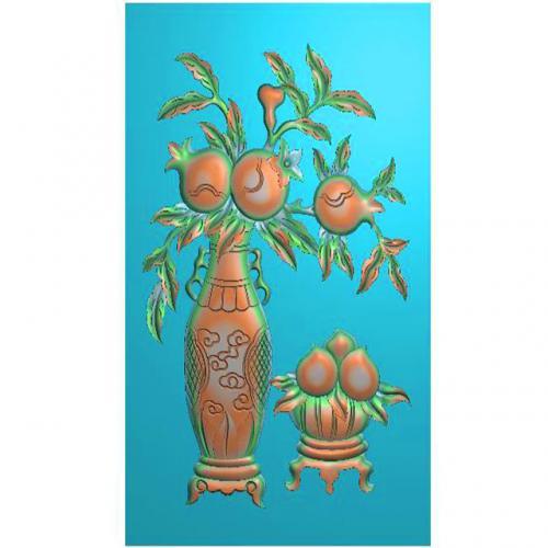 石榴精雕图,桃子浮雕图,花瓶雕刻图(HN-469-)