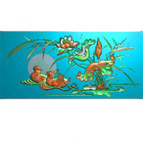 鸳鸯戏水精雕图,荷花浮雕图,鸳鸯雕刻图(HN-474-)
