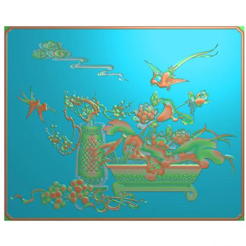 梅花精雕图,花鸟浮雕图,荷花雕刻图(HN-498-)