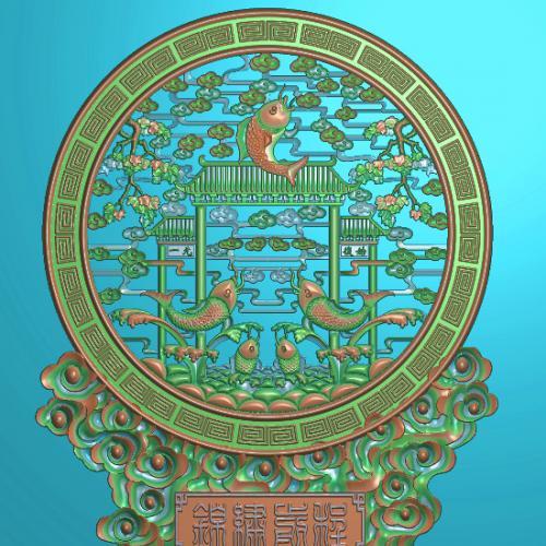 鲤鱼摆件精雕图,鲤鱼摆件浮雕图,鲤鱼祥云摆件雕刻图,鲤鱼回纹精雕图(bj-858)